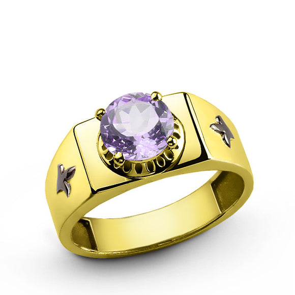 10k Yellow Gold Men's Ring with Purple Amethyst Gemstone - J  F  M