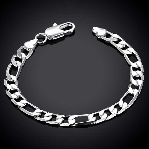 7mm Mens Real Solid 925 Sterling Silver Heavy Figaro Chain Link Bracelet 8 inch