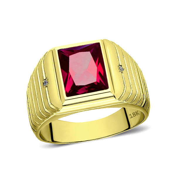 18K Real Yellow Fine Gold Red Ruby Mens Ring with 2 Natural Diamonds Accents