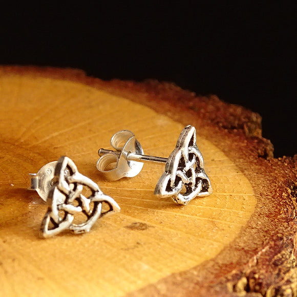 Celtic Trinity Knot Symbol Solid 925 Sterling Silver Men's Stud Earrings