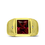 18K Gold Plated on 925 Solid Silver Mens Red Ruby Ring With 2 Diamond Accents
