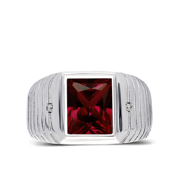 8201186b45618 Mens Solid 14K White Gold Red Ruby Ring 0.04ct Natural Diamonds Ring for Men
