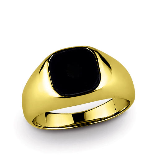 14k Solid Yellow Gold Mens Classic Ring with Natural Black Onyx Gemstone