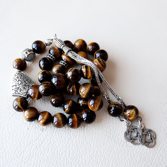 Personalized Gemstone Tasbih 925 SILVER 33 Prayer Beads Natural Tigers Eye Muslim Misbaha