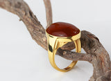 Men's Ring in 10k Yellow Gold with Natural Red Agate Stone, Statement Ring for Men - J  F  M