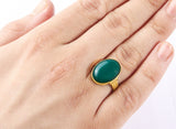 Green Agate Men's Ring in 14k Yellow Gold - J  F  M