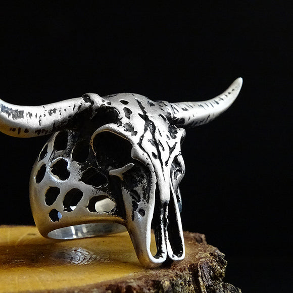 Ram Skull Heavy Ring Solid Sterling Silver Oxidized Aries Goat Baphomet Jewelry