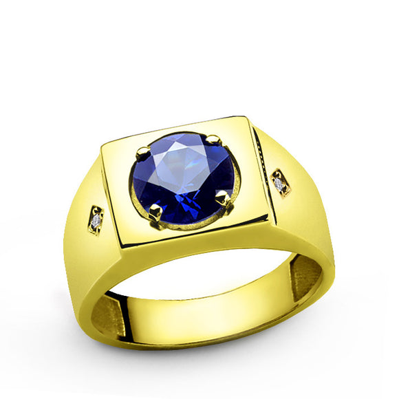 Men's Sapphire Ring in 10k Yellow Gold with Natural Diamonds - J  F  M