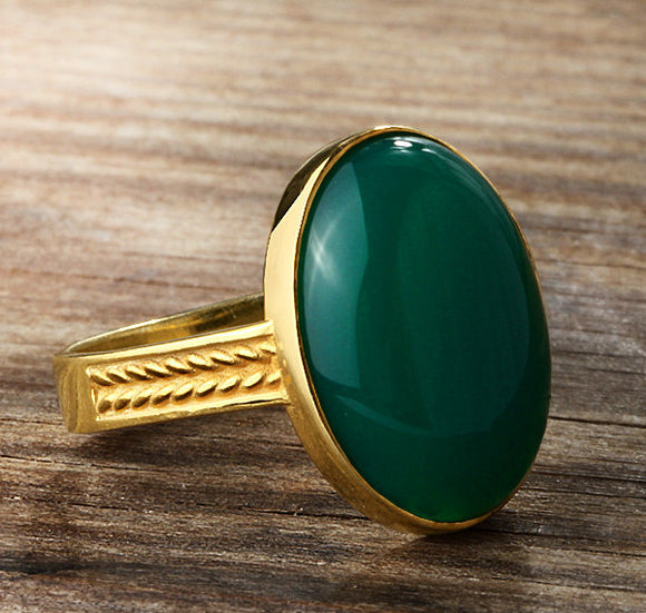 Men's Ring 10k Gold with Green Agate, Natural Stone Ring for Men - J  F  M