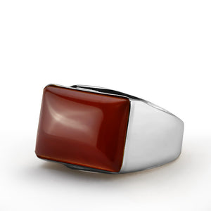 Agate Men's Ring in Sterling Silver with Natural Red Stone - J  F  M