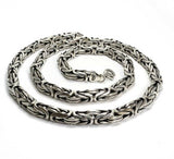 925 Sterling Silver Mens King Byzantine Round Chain Necklace 7mm 112GR 20 Inch