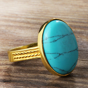 Statement Men's Ring in 10k Yellow Gold with Natural Blue Turquoise stone - J  F  M
