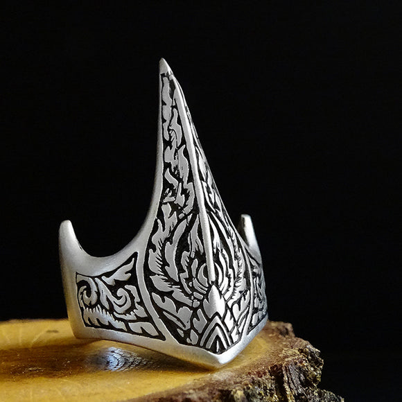 925 Sterling Silver Handmade Crown Archer Zihgir Turkish Jewelry Mens Ring Arabic