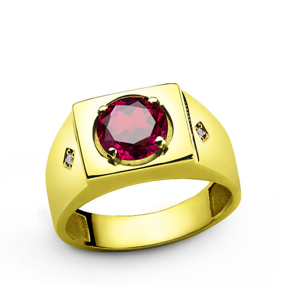 10k Yellow Solid Gold Men's Ring with Ruby Gemstone and Natural Diamonds - J  F  M