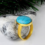 Men's Ring in 14k Yellow Gold with Natural Blue Turquoise - J  F  M