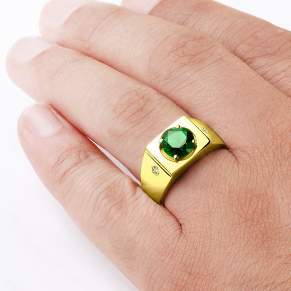 Men's Ring with Green Emerald and Natural Diamonds in 10k Yellow Gold - J  F  M