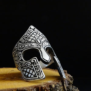Gladiator Mask Mens Silver Ring Ancient Warrior Collection
