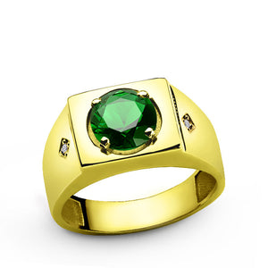 Green Emerald Ring for Men in 14k Yellow Gold with Genuine Diamonds - J  F  M