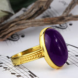 Men's Ring with Natural Purple Agate Stone in 14k Yellow Gold - J  F  M