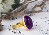 Men's Ring in 10k Yellow Gold with Purple Agate, Natural Stone Ring for Men - J  F  M