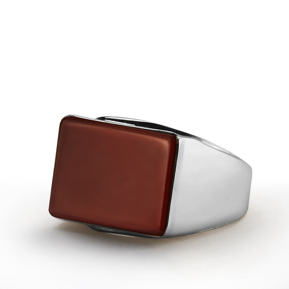 Men's Gemstone Ring Sterling Silver with Natural Red Agate - J  F  M