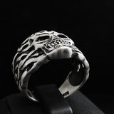 925 Sterling Silver Skull in Fire Mens Ring Biker Gothic Punk Ring Jewellery