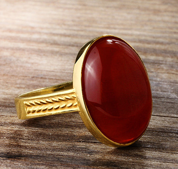 Men's Agate Ring in 14k Yellow Gold - J  F  M
