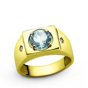 Men's Ring in 10k Yellow Gold with Blue Topaz and Genuine Diamonds - J  F  M