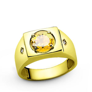 14k Yellow Gold Men's Diamonds Ring with Citrine Gemstone, Statement Ring for Men - J  F  M