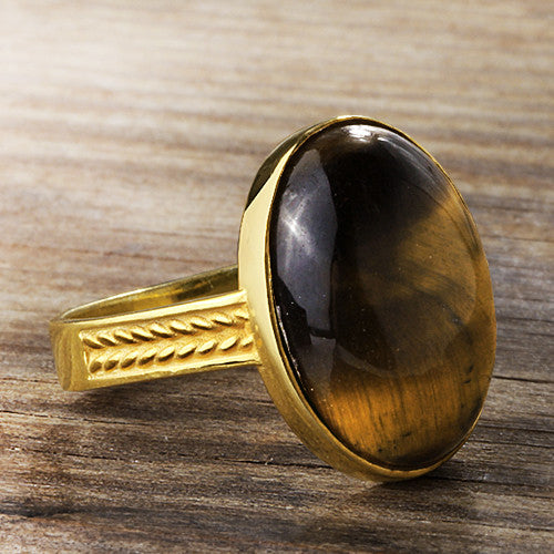 Men's Ring with Brown Tiger's Eye in 14k Yellow Gold - J  F  M