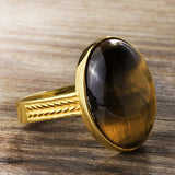 Men's Ring with Tiger's Eye Natural Stone in 10k Yellow Gold - J  F  M