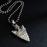 Oxidized 925 Silver Vintage Indian Spearhead Pendant Necklace