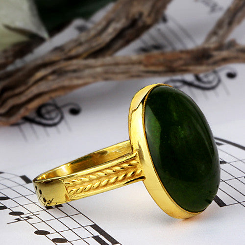 Men's Ring with Agate Stone in 14k Yellow Gold - J  F  M