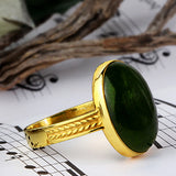 Men's Ring with Green Agate in 10k Yellow Gold Natural Stone Ring - J  F  M