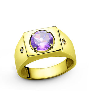 Diamonds Men's Ring in 10k Yellow Gold with Purple Amethyst Gemstone - J  F  M