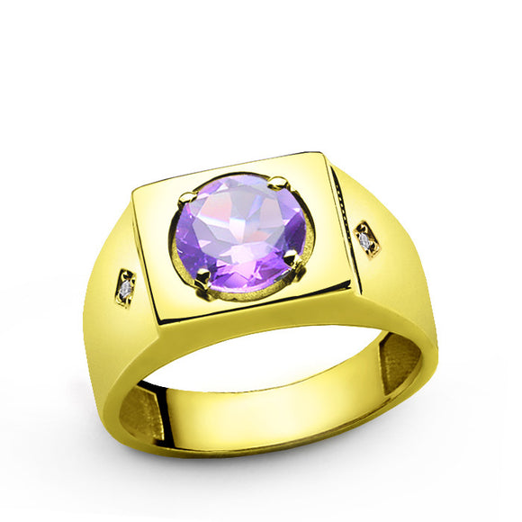 Purple Amethyst and Diamonds in 14k Yellow Gold Men's Ring - J  F  M