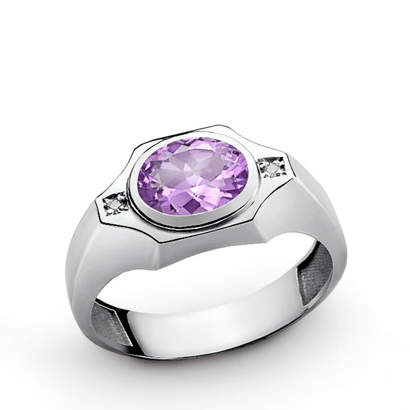 Men's Amethyst Ring with Diamonds in 925 Sterling Silver - J  F  M