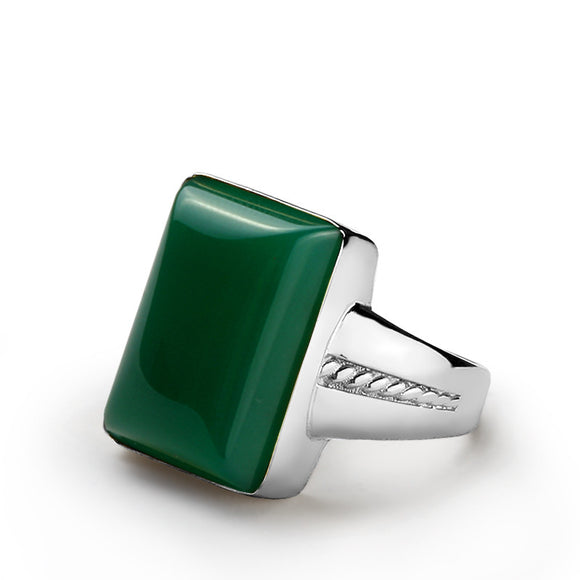 925 Sterling Silver Men's Ring with Green Agate, Natural Stone Ring for Men - J  F  M