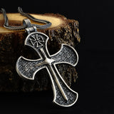 Templar Knights Sword 925 Sterling Silver Cross Pendant Necklace Charm