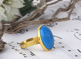 Men's Ring in 10k Yellow Gold with Blue Turquoise, Natural Stone Ring for Men - J  F  M