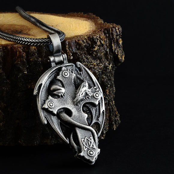 Gothic Dragon Men's Silver Cross Pendant Necklace with Wheat Link Chain