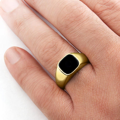 18k Solid Yellow Gold Mens Classic Ring with Natural Black Onyx Gemstone