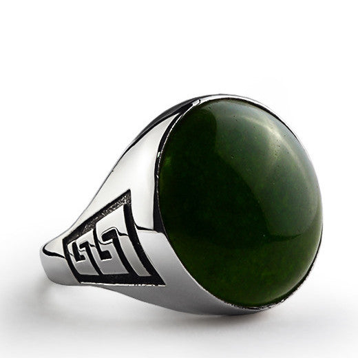 Men's Agate Ring in 925 Sterling Silver, Natural Green Stone Ring for Man - J  F  M