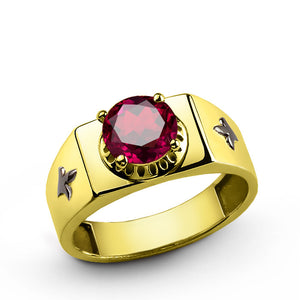 10k Yellow Solid Gold Men's Ring with Red Ruby Gemstone - J  F  M