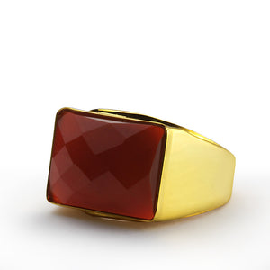 Men's Ring in 14k Yellow Gold with Natural Red Agate Gemstone - J  F  M