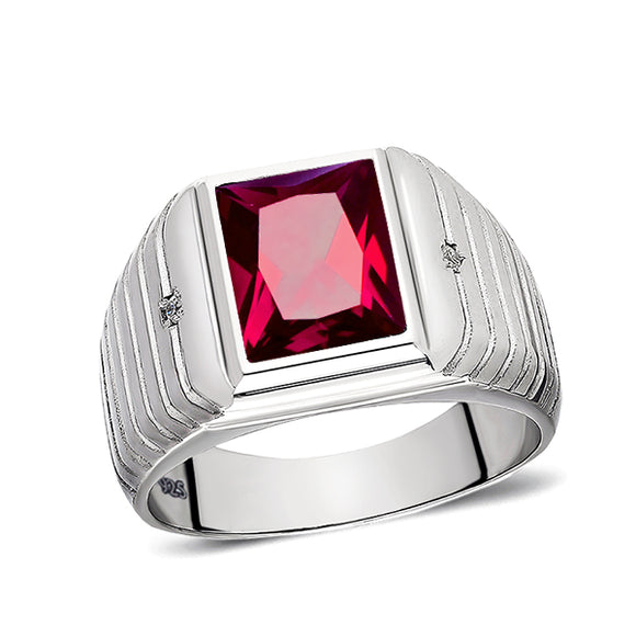 Ruby Mens Ring 2 Diamond Accents Real 925 Solid Sterling Silver Ring All Sizes
