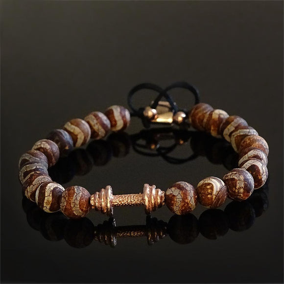 Round Bead Mens Bracelet Tibetan Agate 8mm with Rose Gold Plated Silver Dumbbell Charm