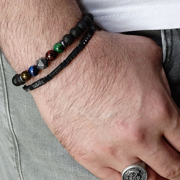 Healing Stone Set of Bracelets Gift For Men Black Lava Stones with Titanium Hematite