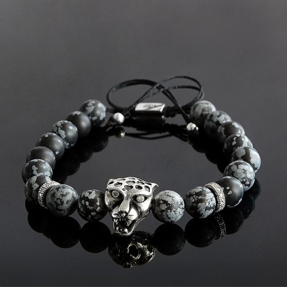 Men's 8mm Snowflake Obsidian Bracelet with 925 Sterling Silver Jaguar