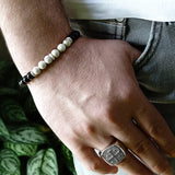 Onyx Men's String Bracelet Natural Round Black Beads with 925 Silver Charm